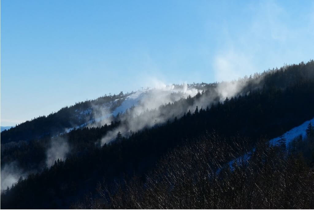 largest snowmaking systems in North America Sunday River Maine snow guns shooting snow