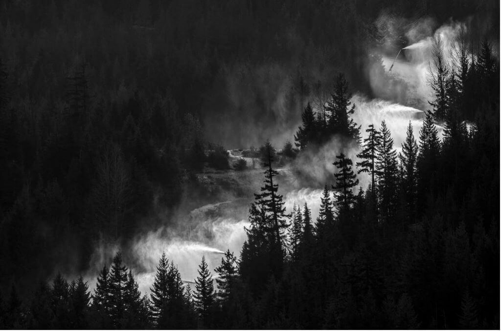 largest snowmaking systems in North America Whistler British Columbia snow guns shooting snow