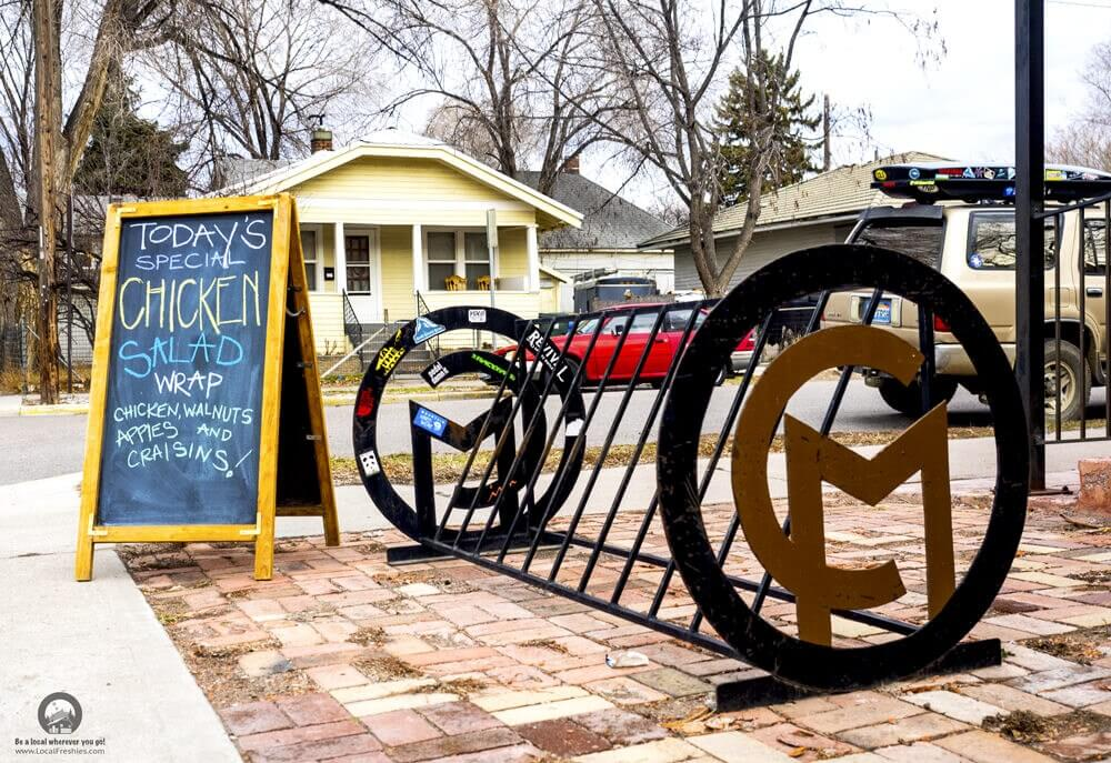College Market Exterior Pocatello Idaho Artistic Bike Rack Chalkboard