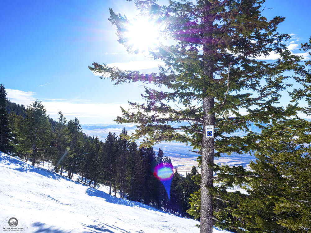 Edgie Trail Pebble Creek Ski Resort Pocatello Idaho Sunny Winter Day