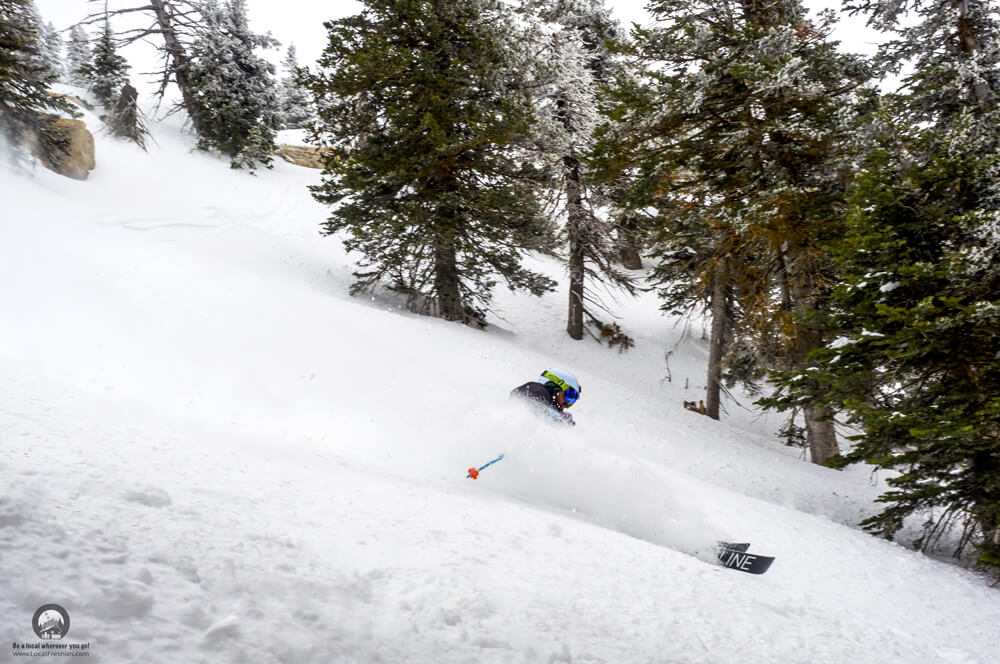 Pebble Creek Ski Resort Skier slashing powder
