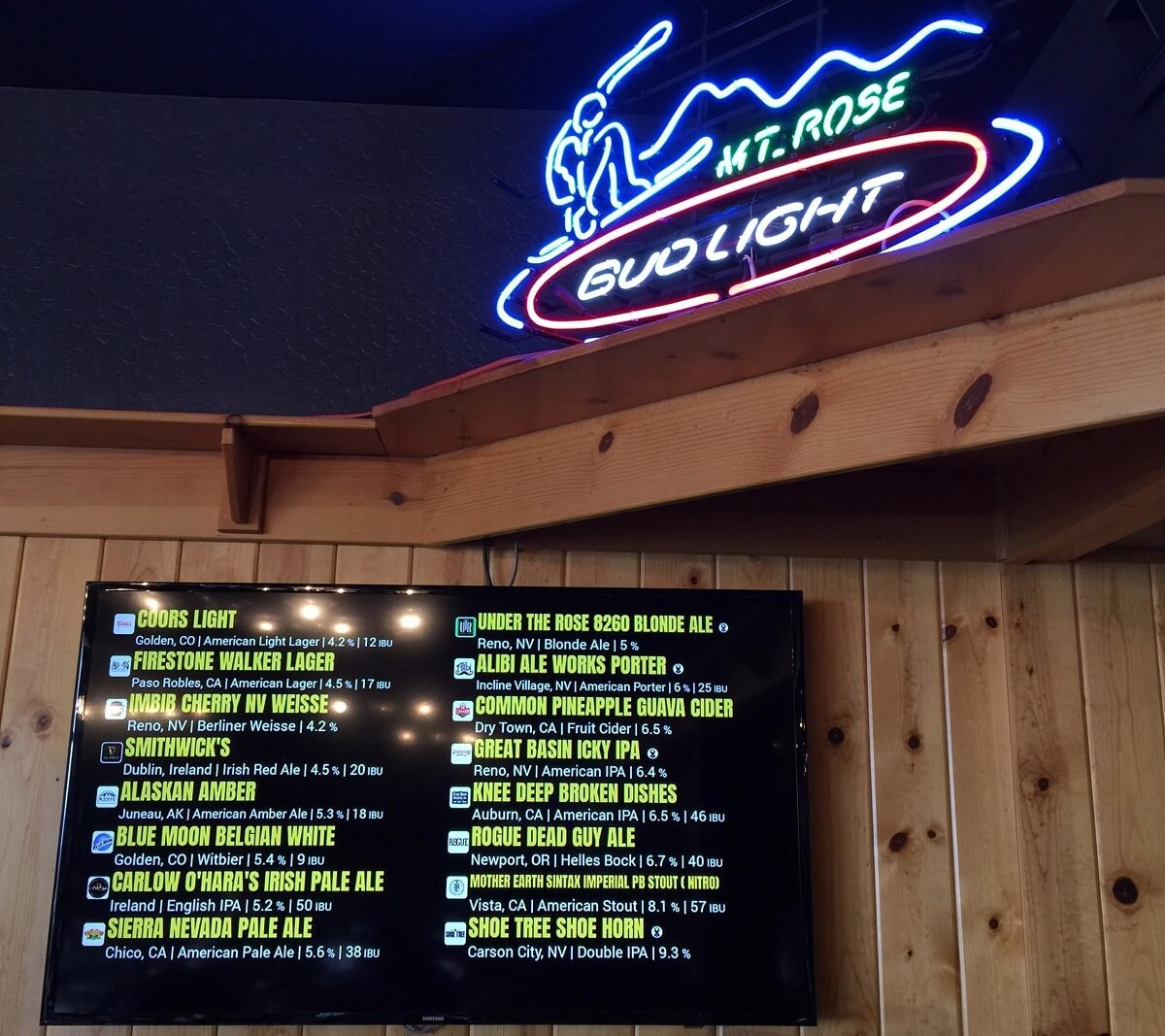 Mt Rose Timbers Bar Local Micro Brews Options