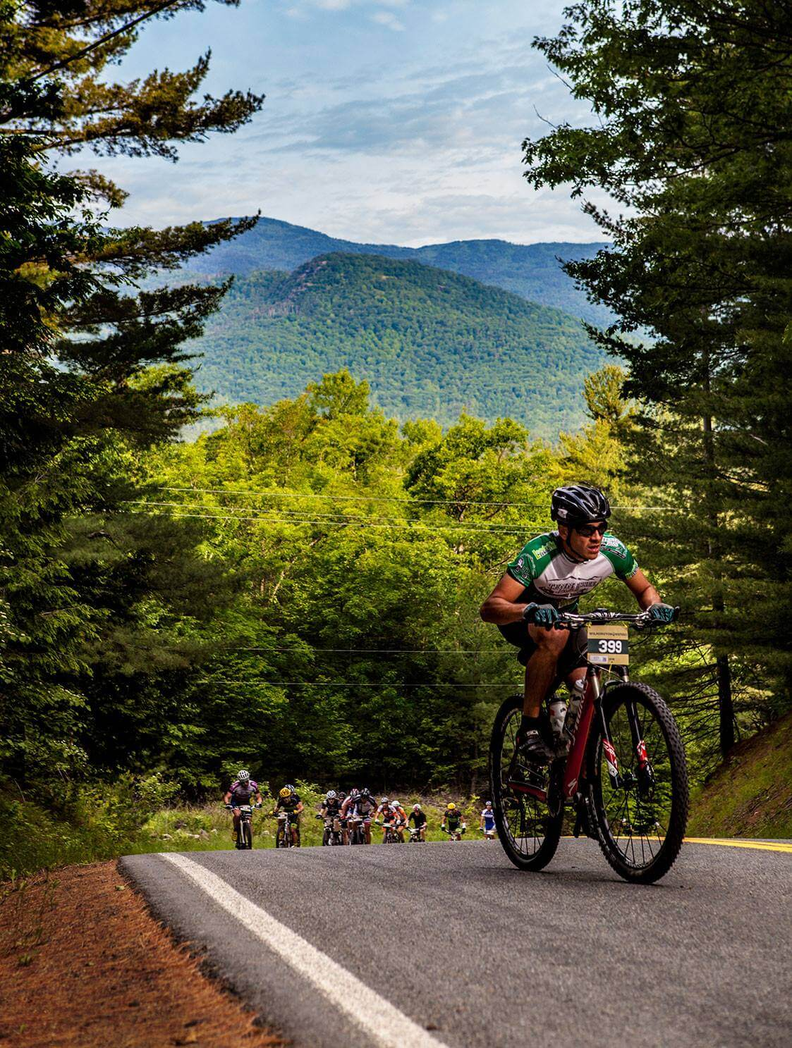 Wilmington Whiteface Mountain Biking Festival with Adirondacks in the background