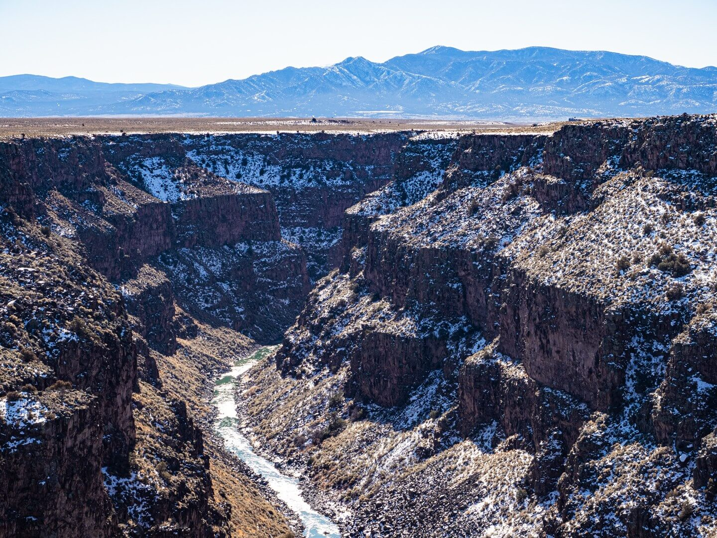 View from Rio Grande Gorge bridge during winter