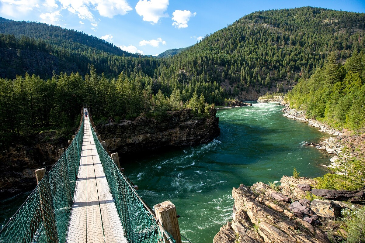 Kootenai Falls Suspension Bridge Libby Montana Wild River Best Suspension Bridges In North America