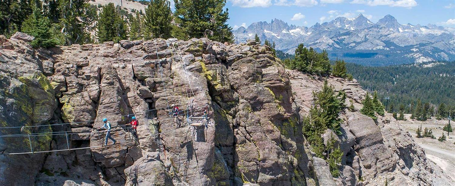 Via Ferrata at Mammoth Mountain during summer operations with suspension bridge
