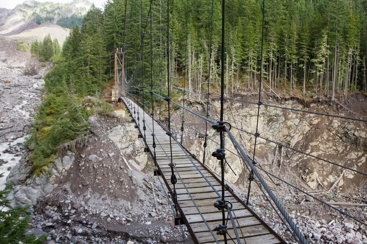Tahoma Creek Suspension Bridge Lewis County Mt Rainer Bridge
