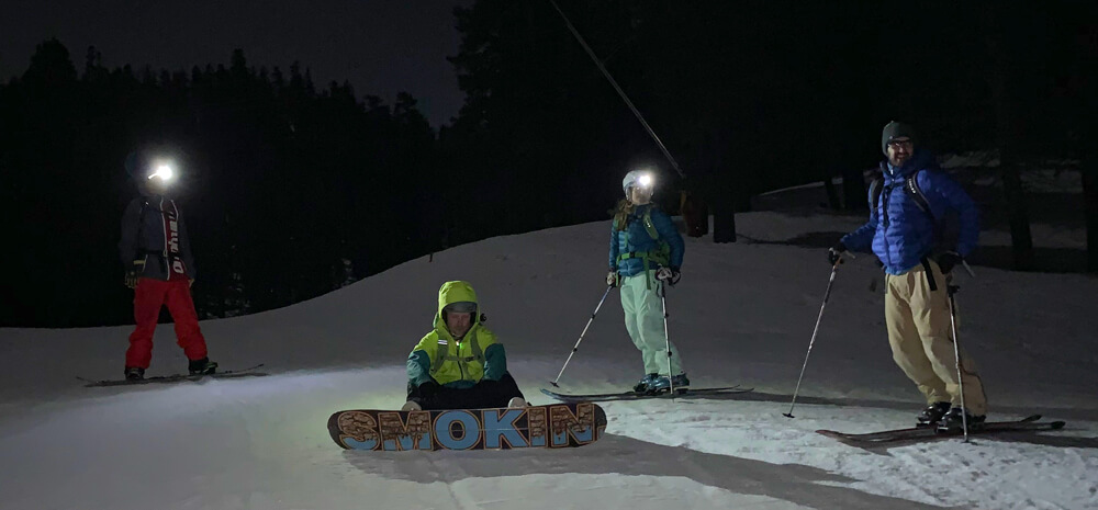 skiing under moonlight