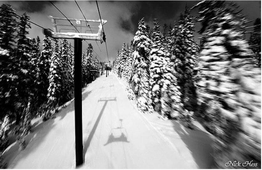 skiing near Portland Oregon Black and White Image Chairlift at Mt Hood Meadows
