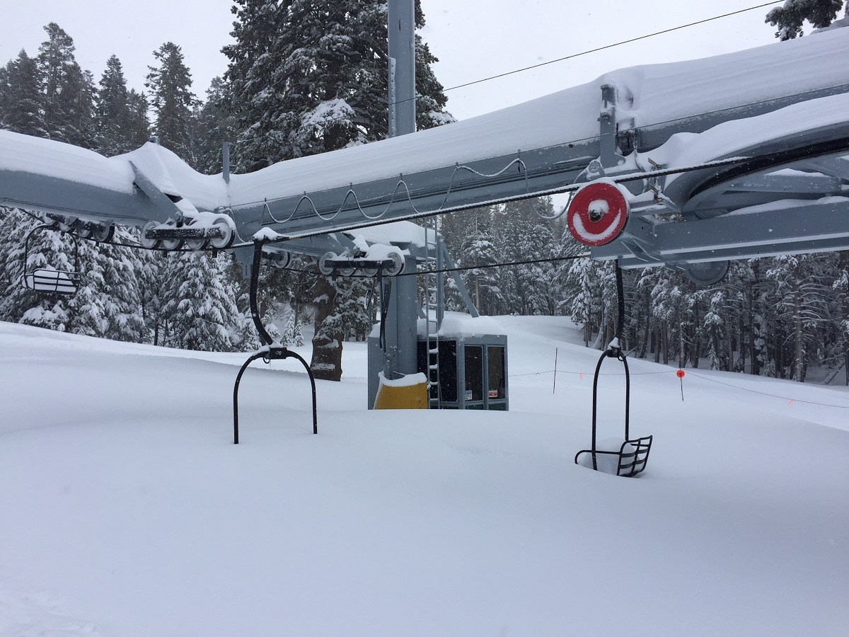 A buried chairlift due to heavy Lake Tahoe Miracle March snowfall