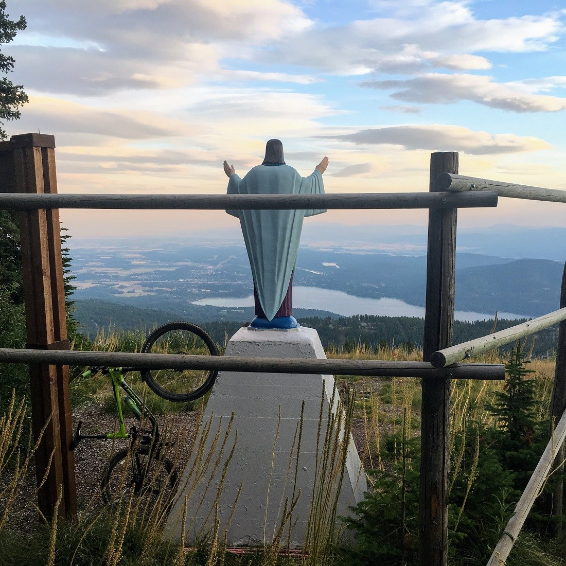 Jesus statue on Whitefish Mountain one of the weird places to visit in the US