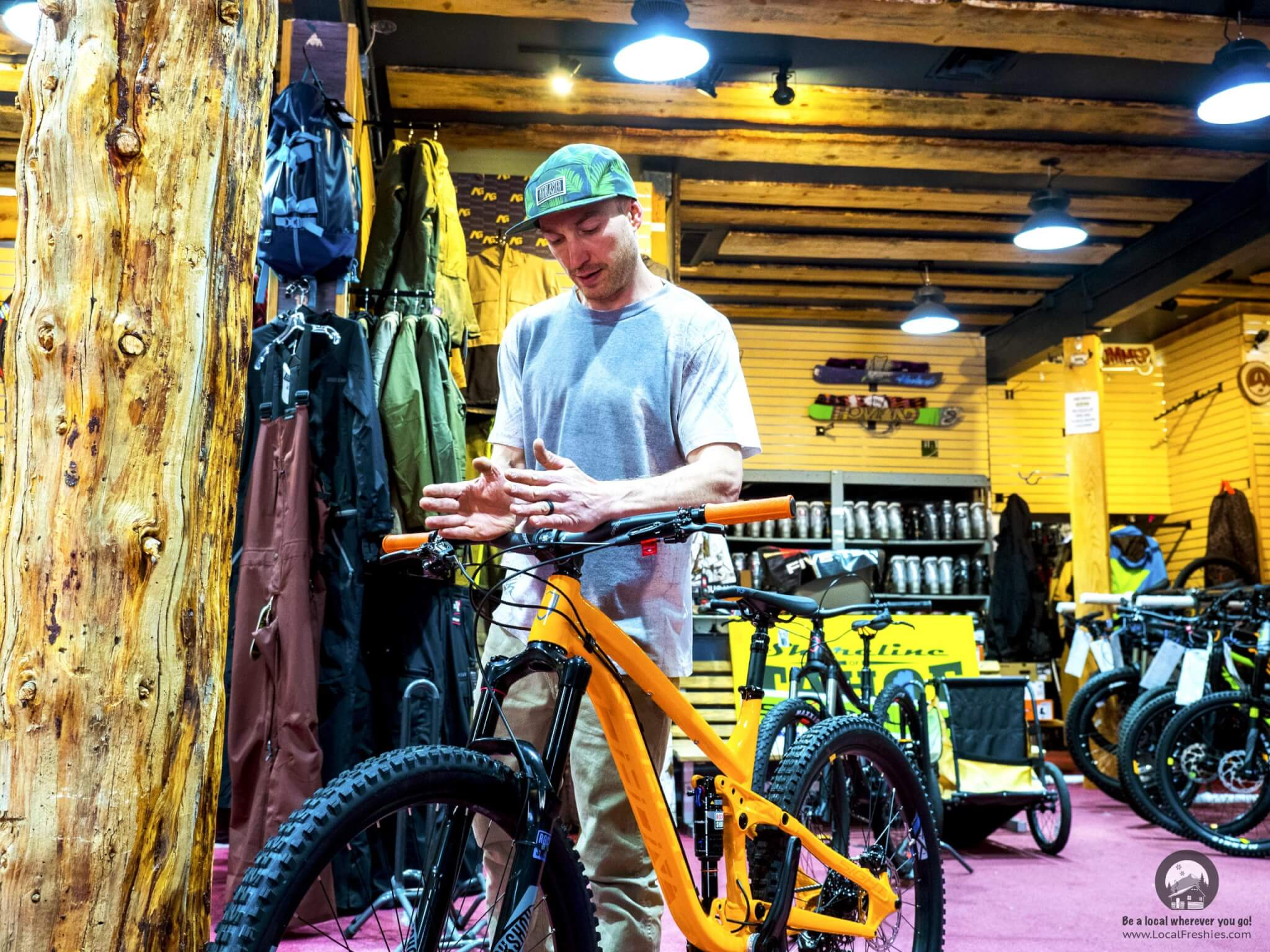 Interior of Shoreline of Tahoe owner Ken Raspen showing new Norco bike