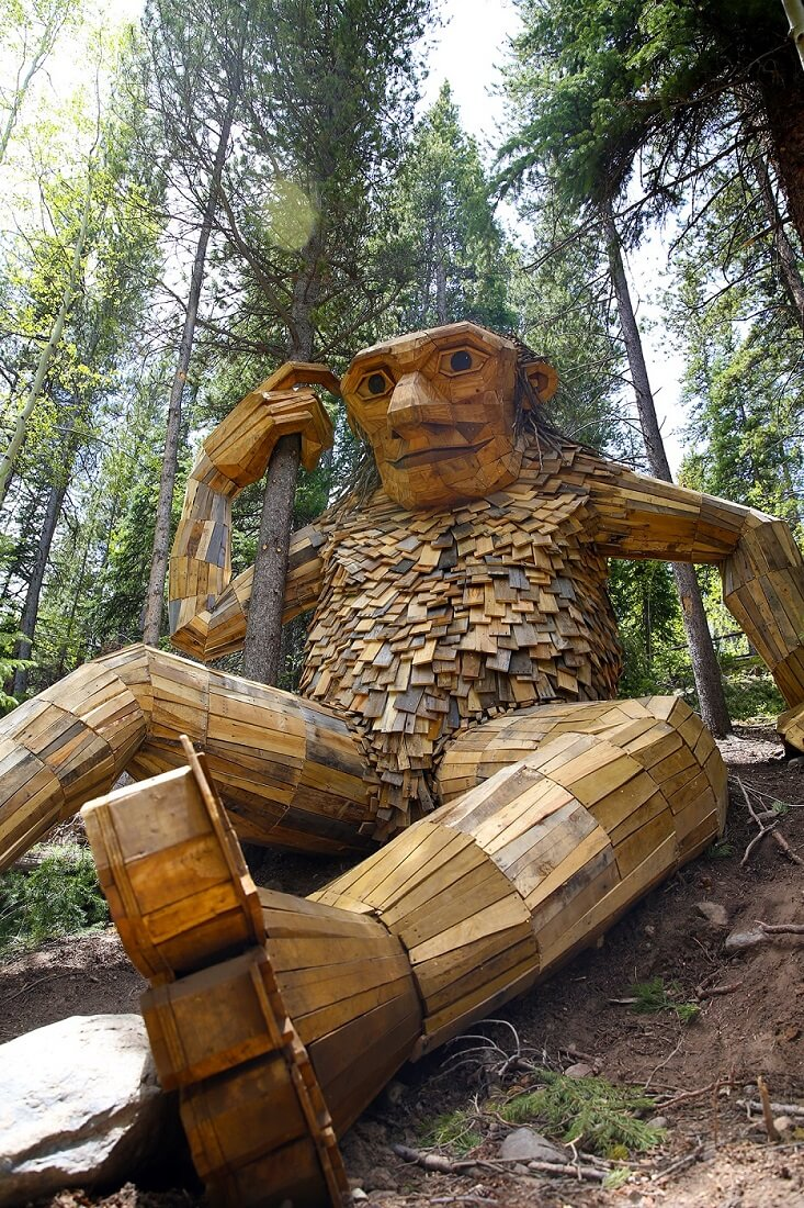 Isak one of the weird places to visit in the US in Breckenridge Colorado Wooden Troll