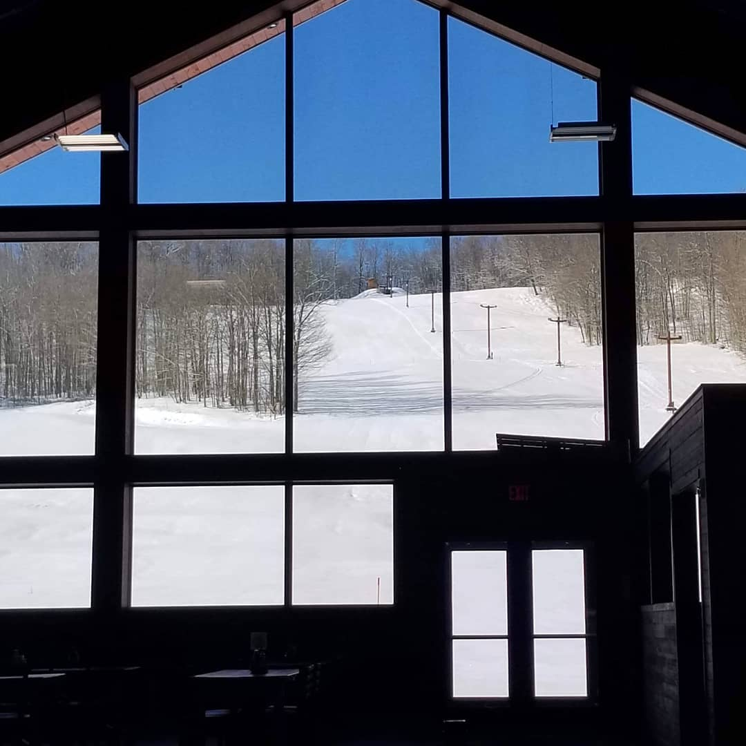 Inside new lodge at Cockaigne Ski Resort in Western New York during a sunny winter day