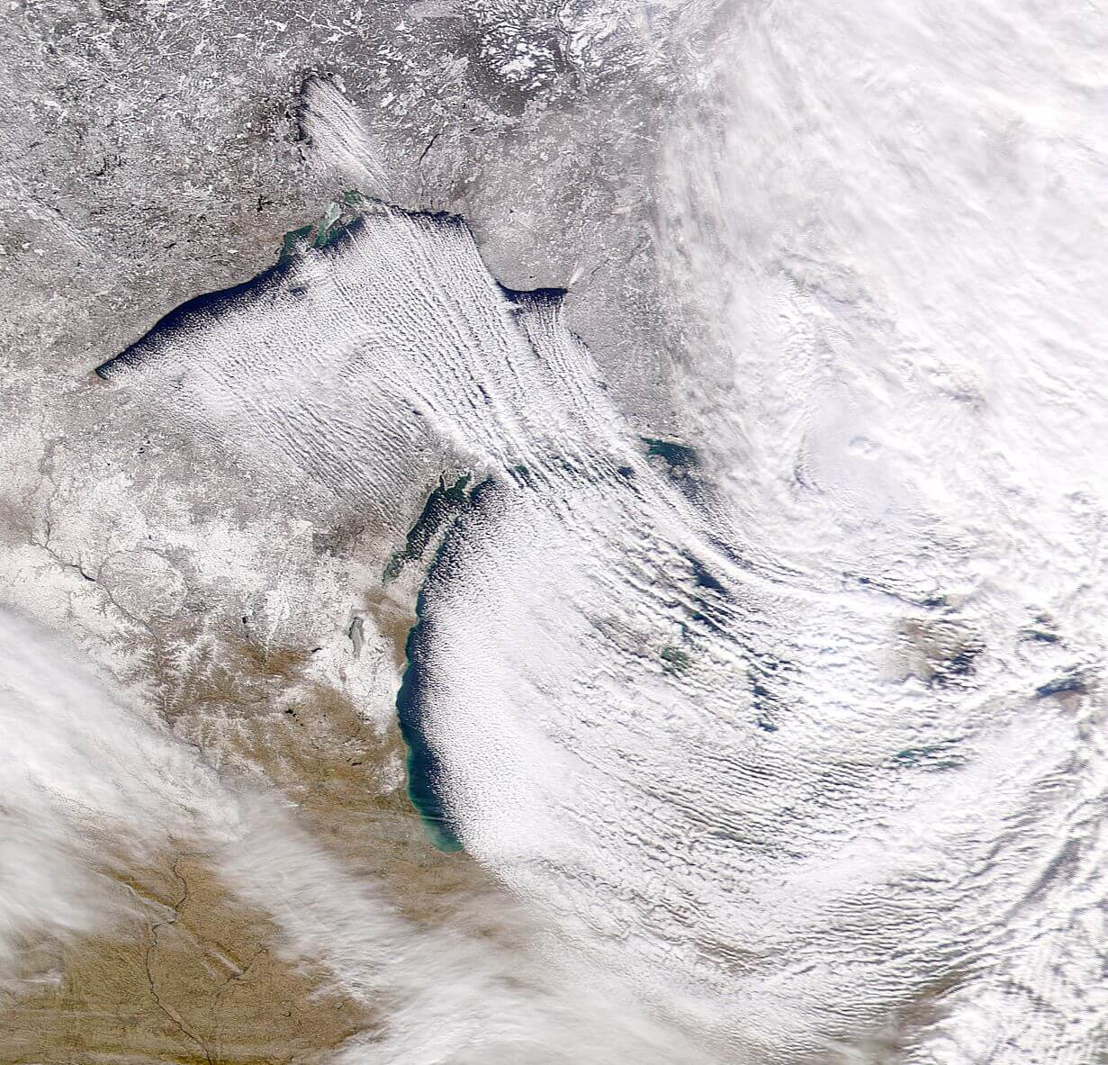 Great Lakes Lake Effect Snow Satellite Image