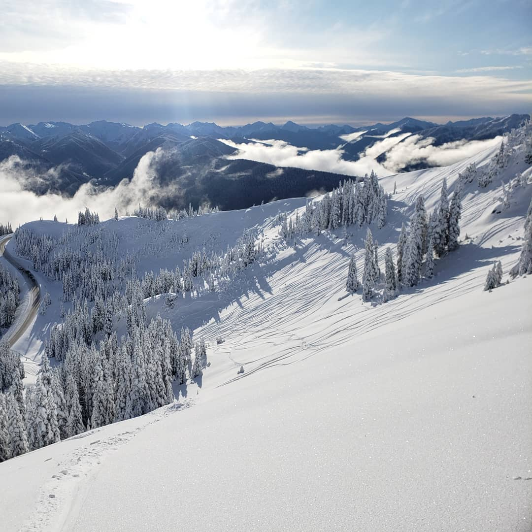 sunny day at Hurricane Ridge washington ski resort in winter within Olympic National Park