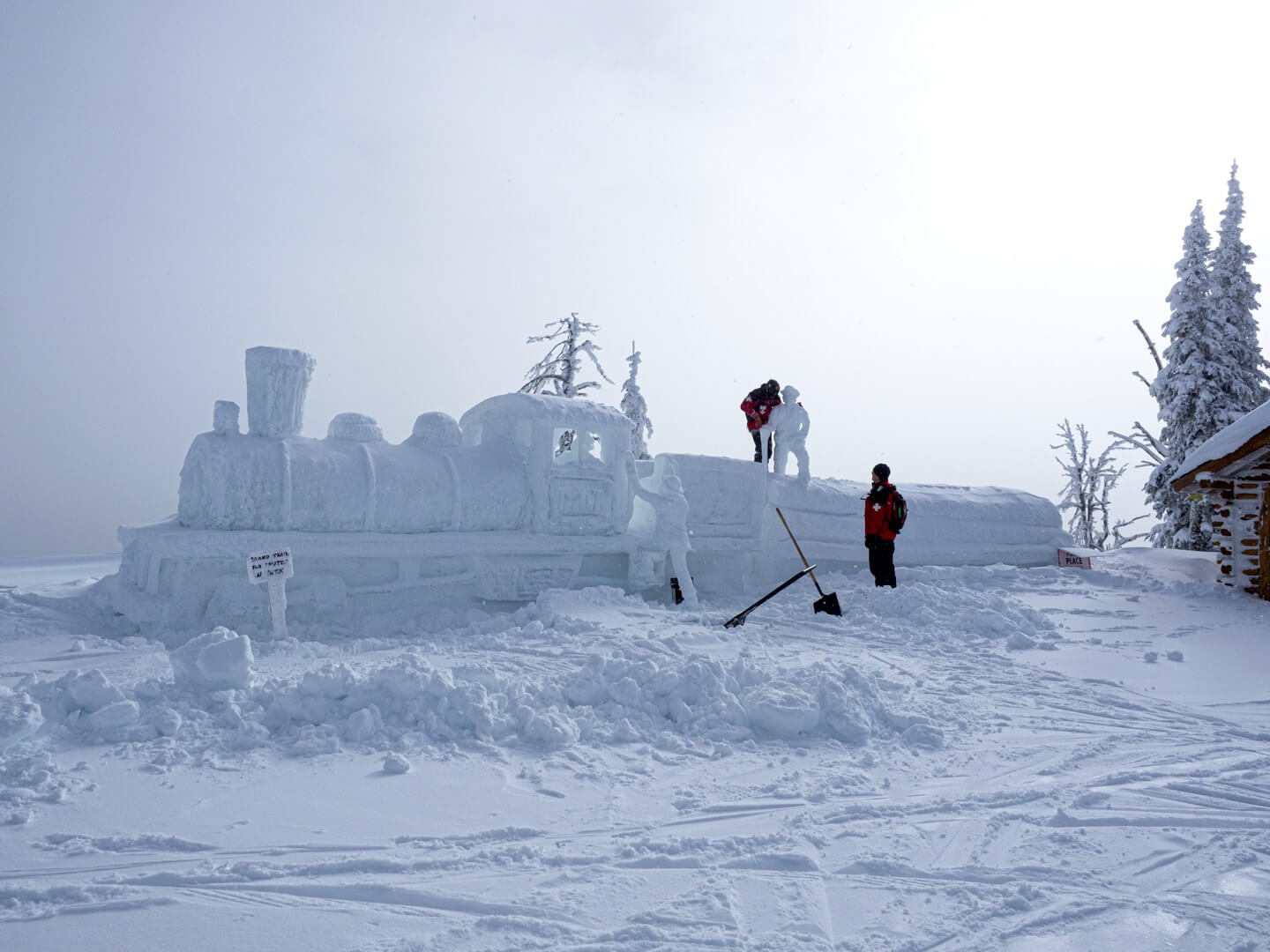 Snow sculpture at Brundage Mountain during McCall Winter Carnival