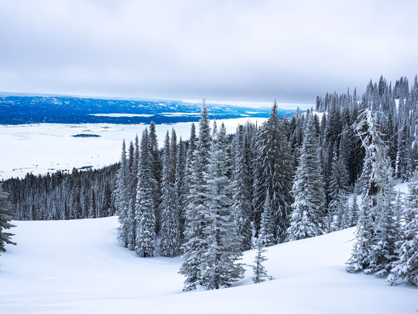 Cascade Lake near Donnelly Idaho during winter as viewed from Tamarack Resort