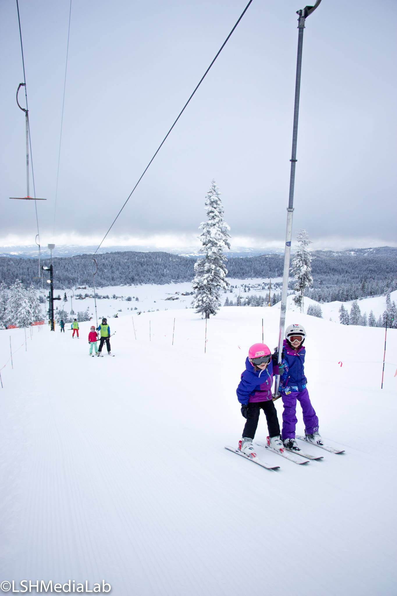 Kids skiing on T-bar at Little Ski Hill in McCall Idaho