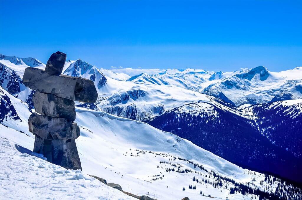 Famous stone statue from Olympics at Whistler overlooking the high alpine