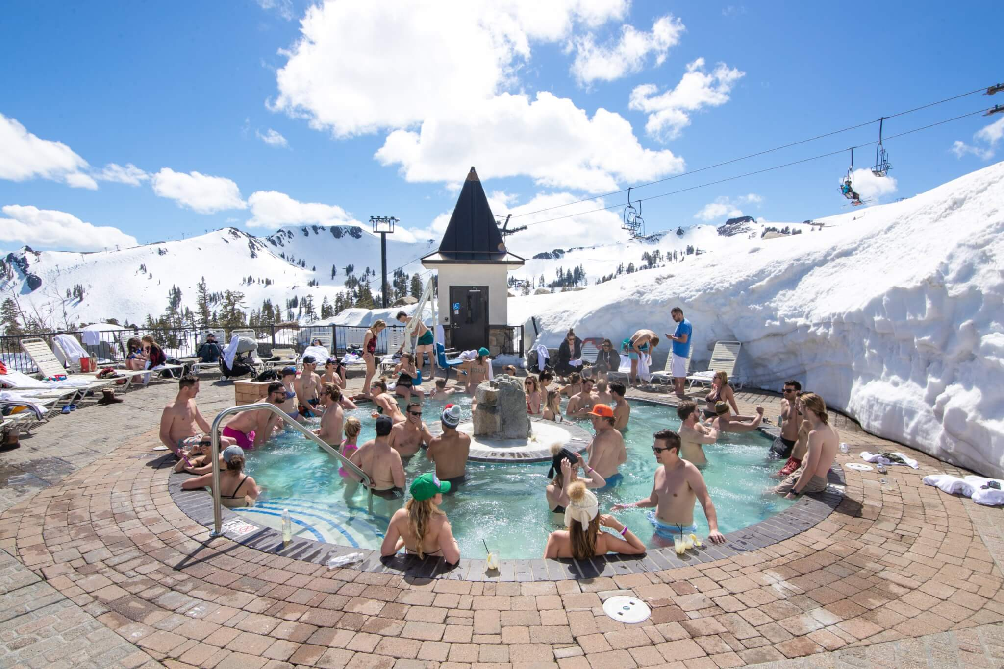 Spring skiing fun with hot tub at Squaw Valley High Camp in Lake Tahoe California