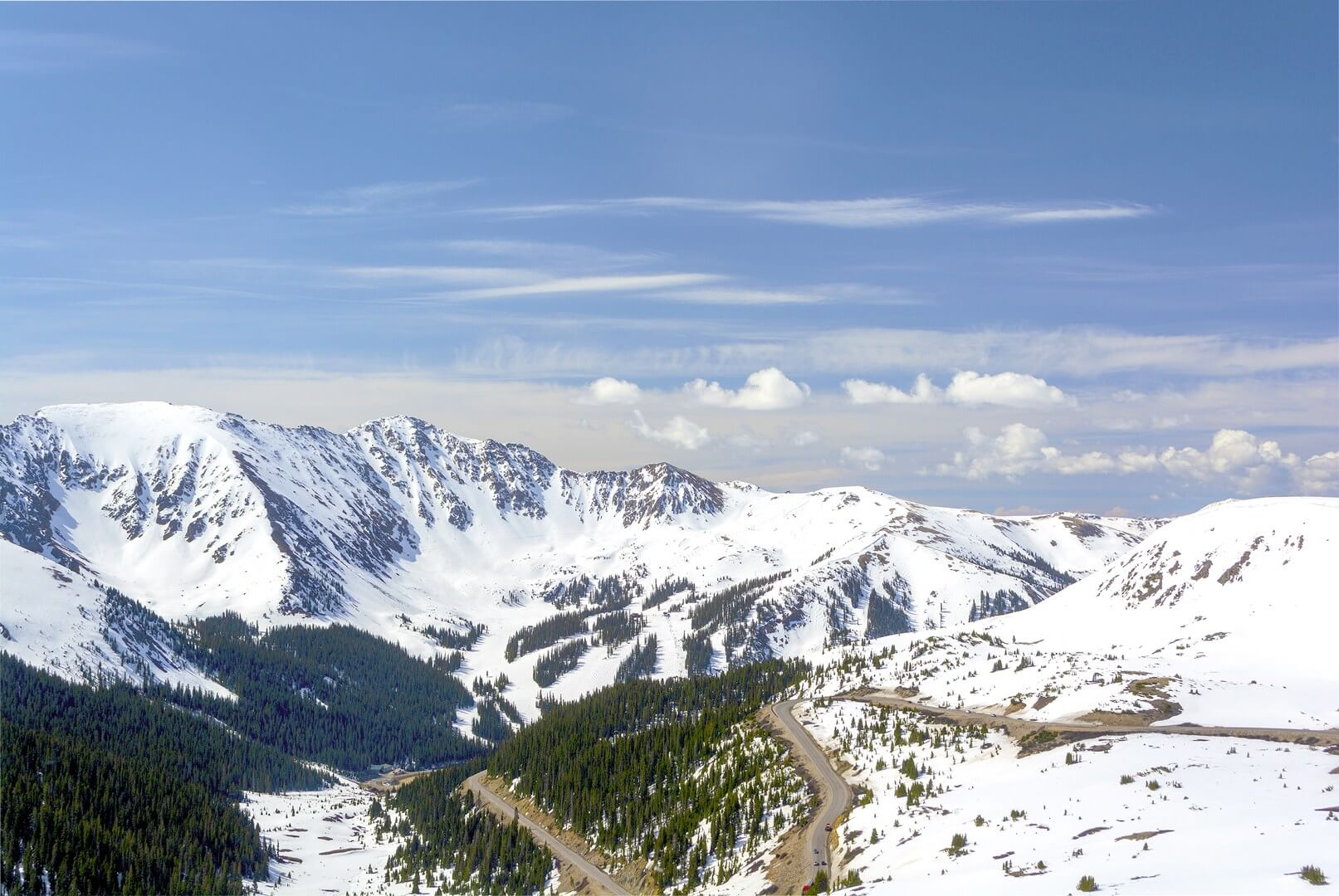 Looking at Arapahoe Basin from a distance on a sunny day
