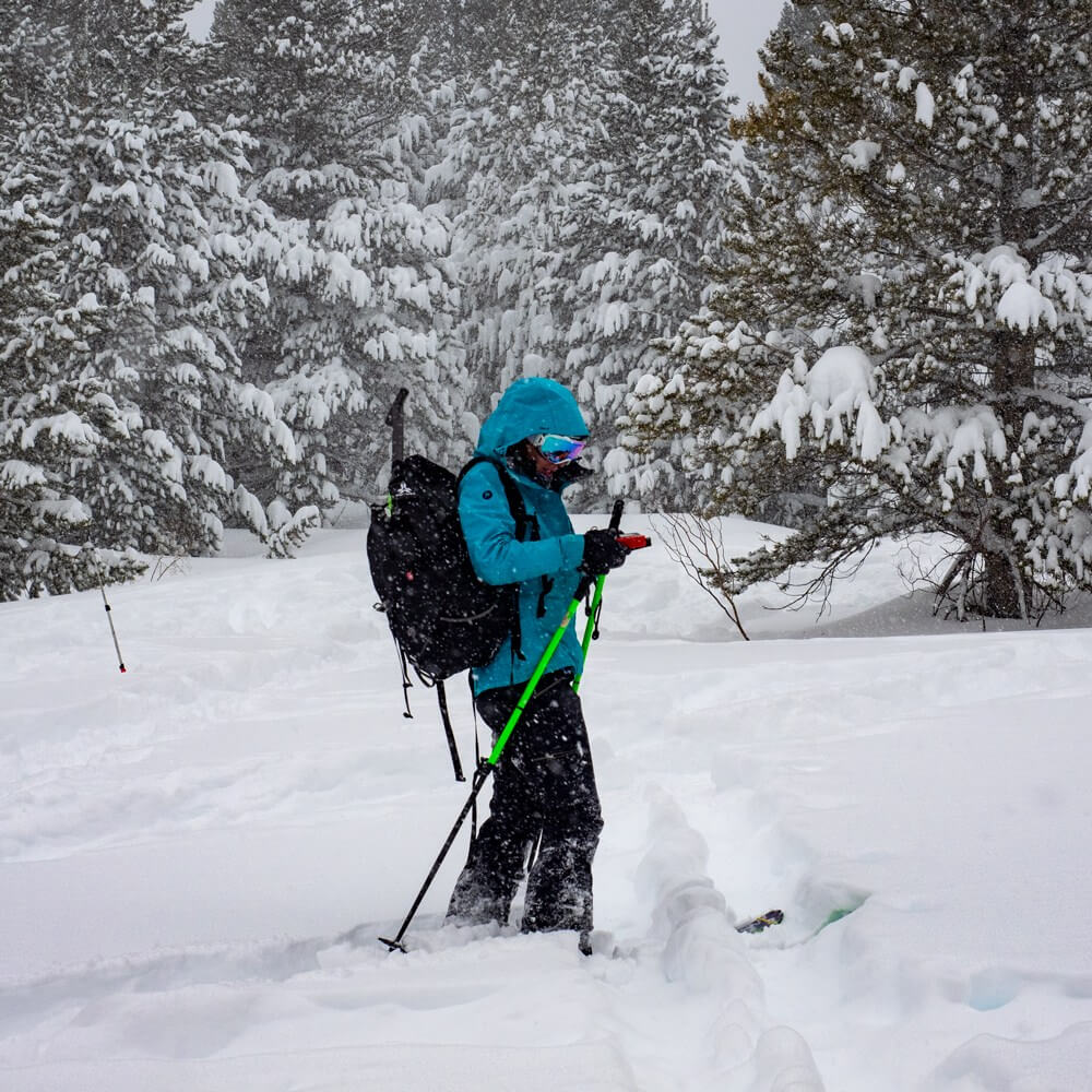 outdoor avalanche training at High Sierra Yurt during Februburied