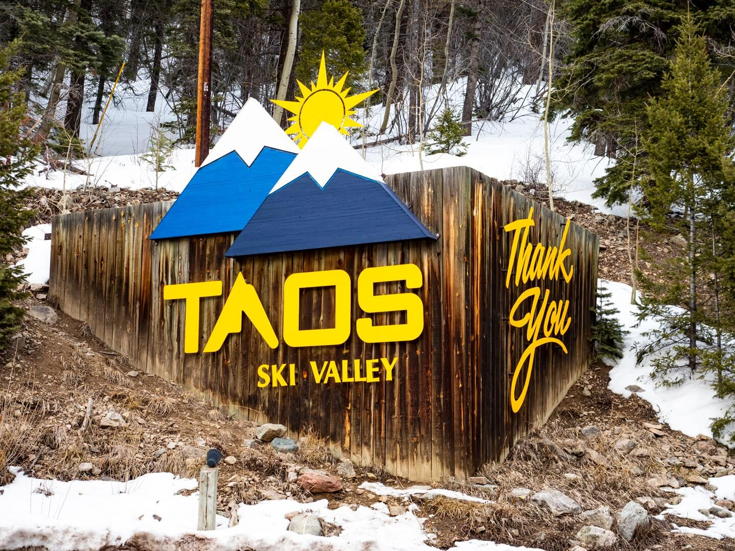 Taos Ski Valley Sign at entrance of resort in New Mexico