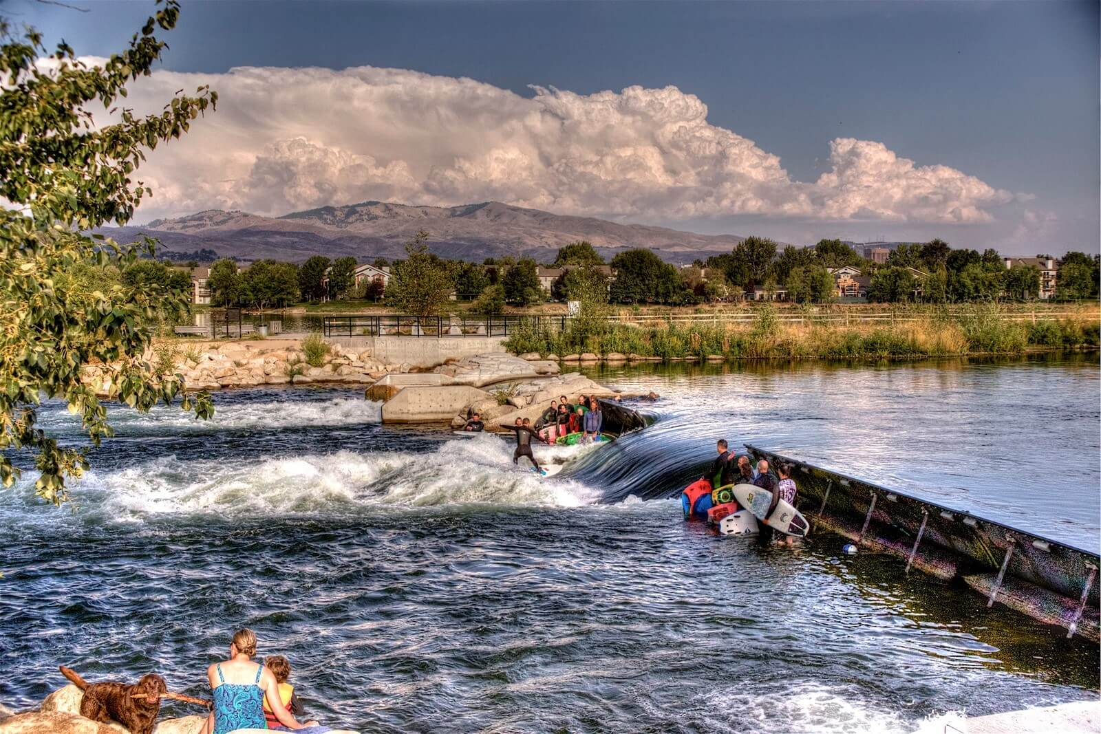 river surfing in downtown Boise Whitewater Park