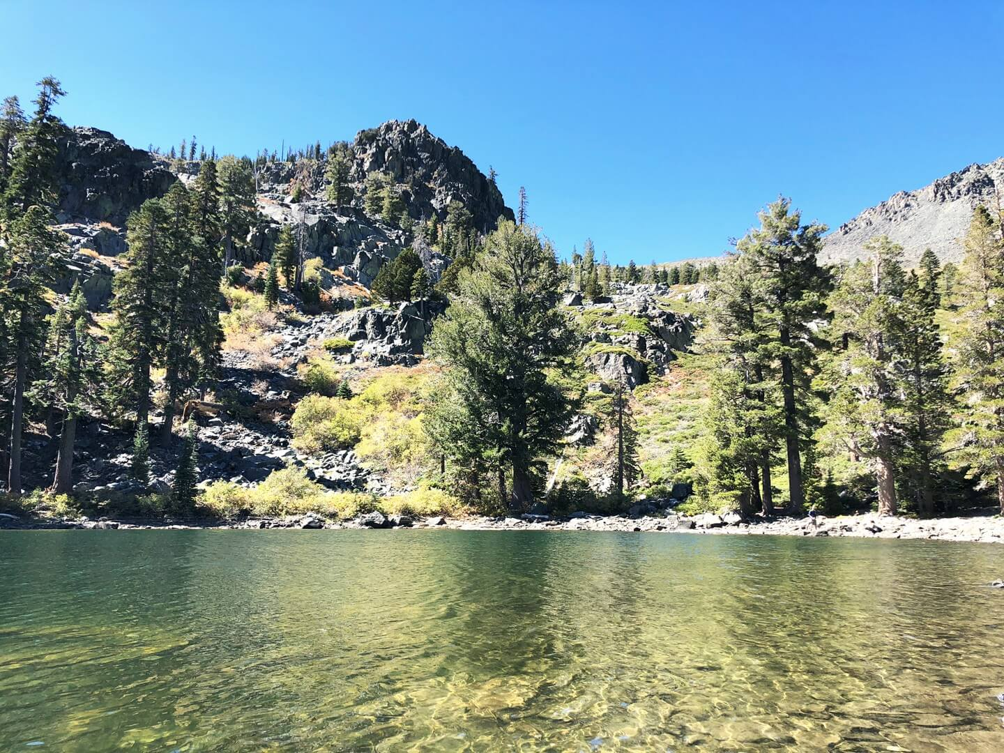 Cathedral Lake on a sunny summer day in South Lake Tahoe