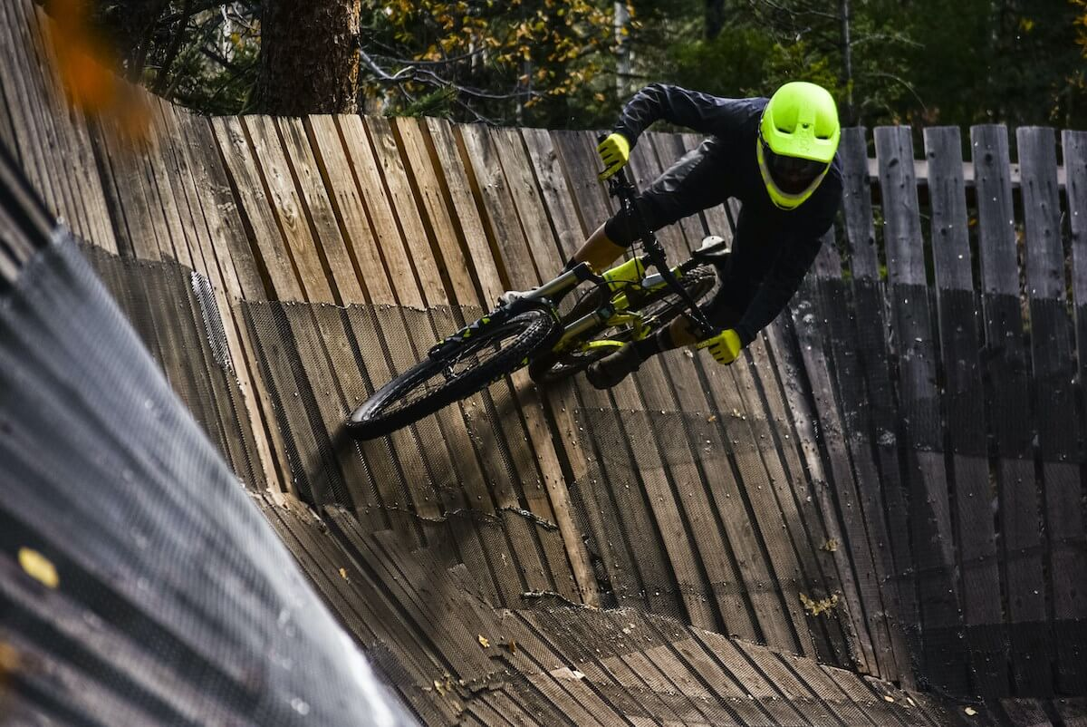 mountain biking wall ride at Angel Fire Resort