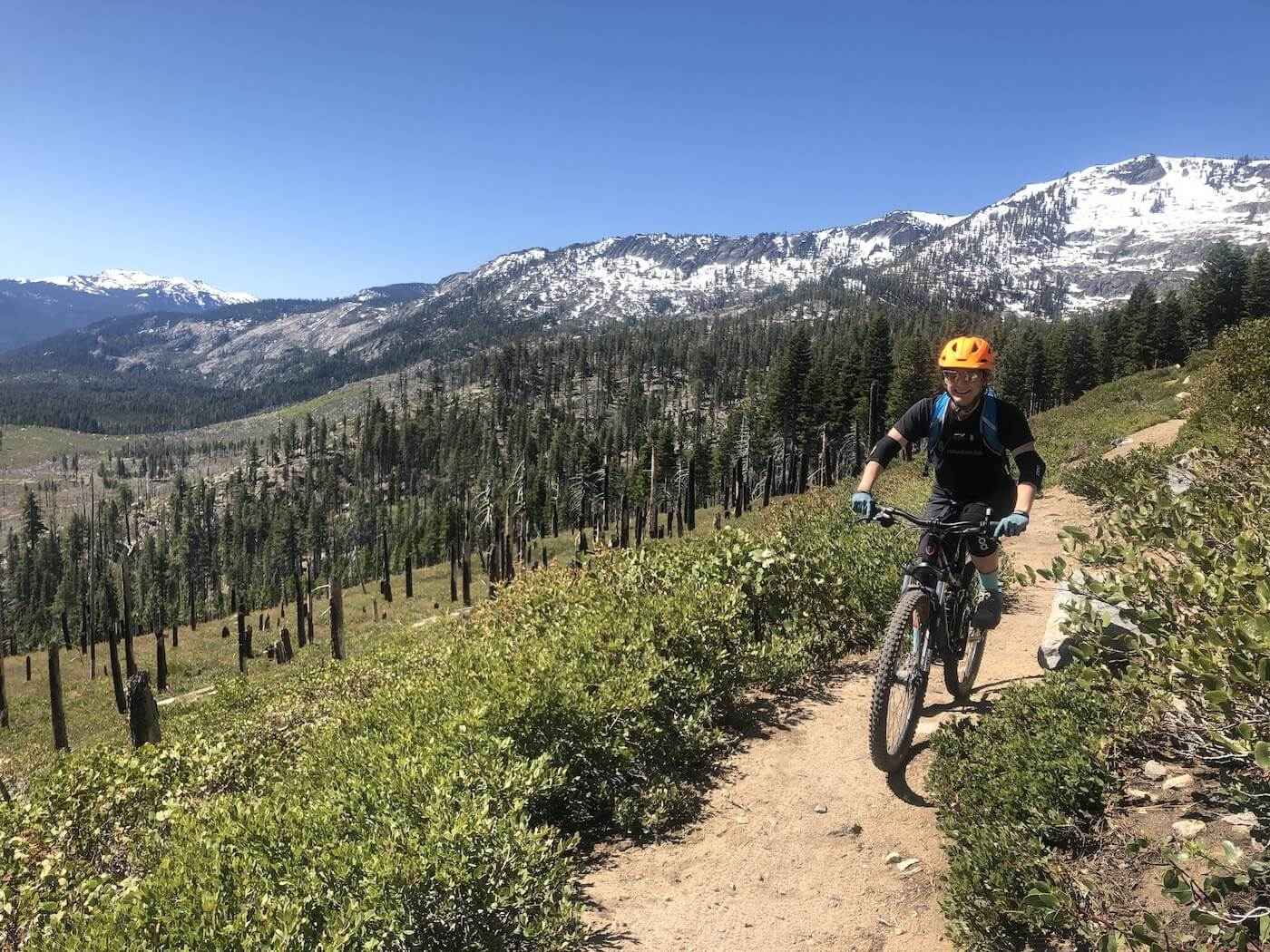 Tahoe Mountain biking trail using the best mountain bike chain lube to use in dry conditions