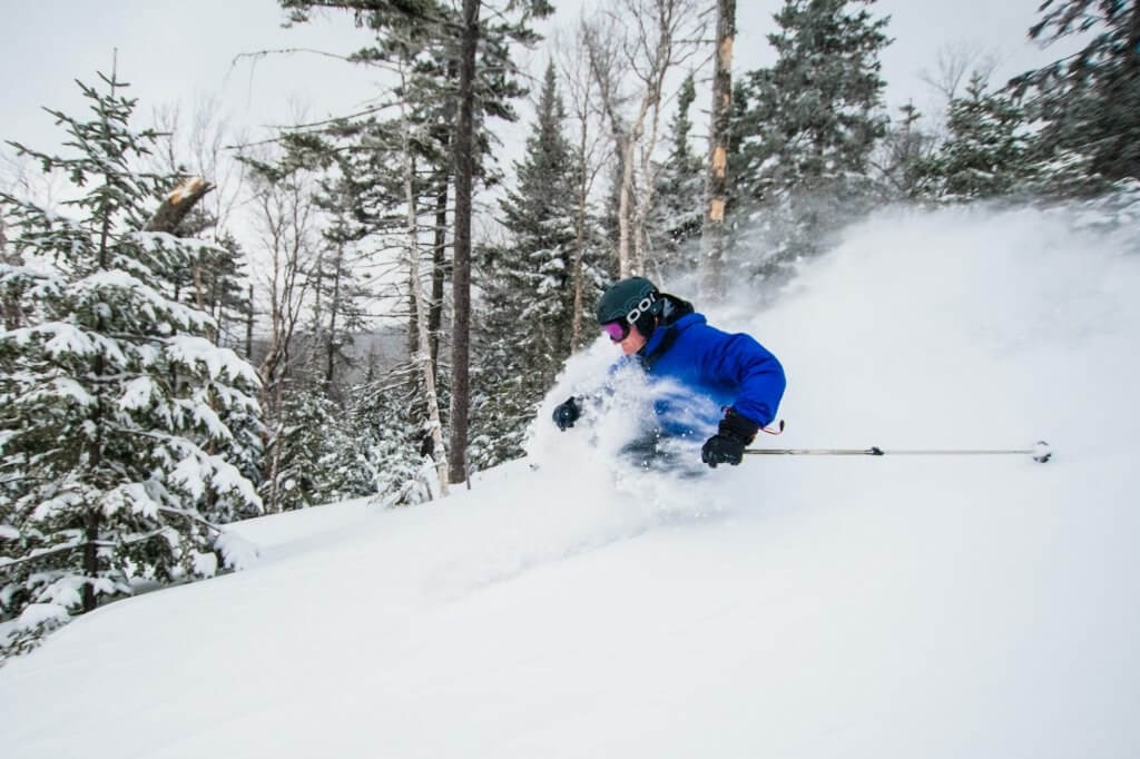 Maine Ski Mountains Saddleback Ski Resort on a powder day