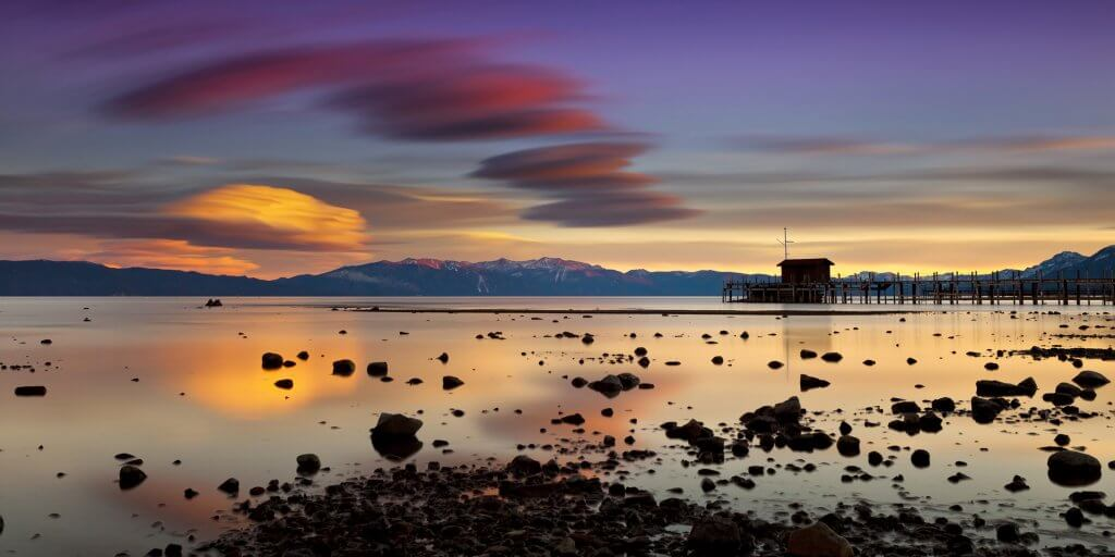 Sunset at Tahoe City with view of pier