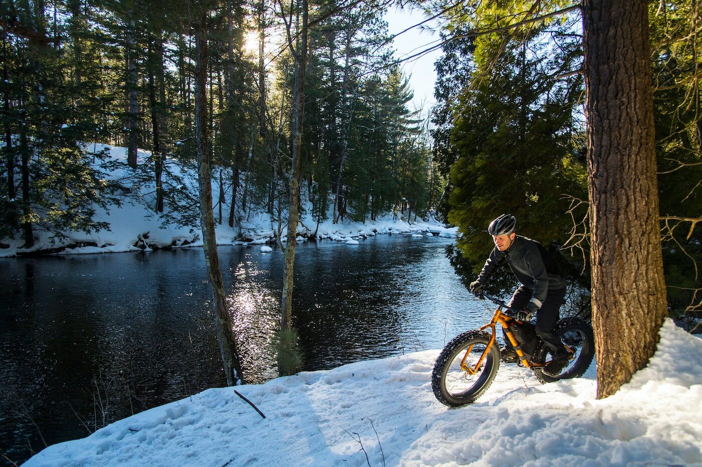 fat tire winter biking in Upper Peninsula Michigan on a sunny afternoon