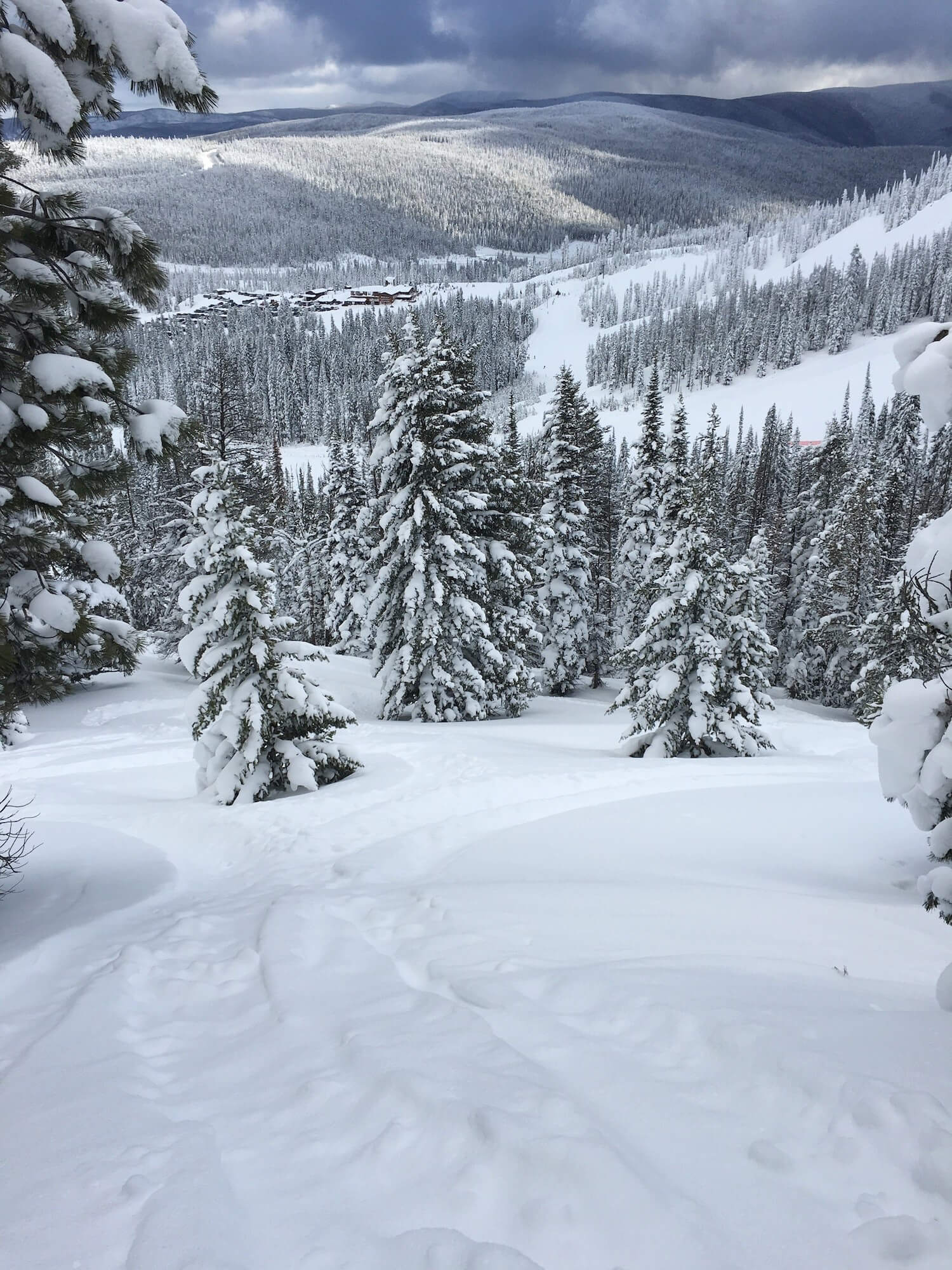 Powder skiing on Christmas as Lost Trail Ski Resort in Montana