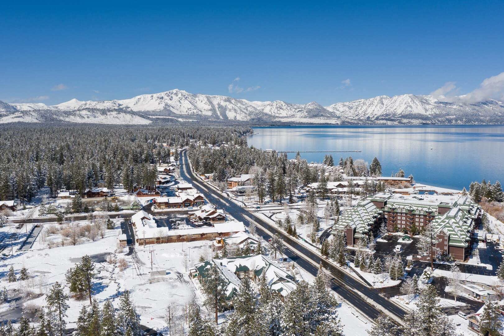 Aerial view of South Lake Tahoe California after a snowstorm