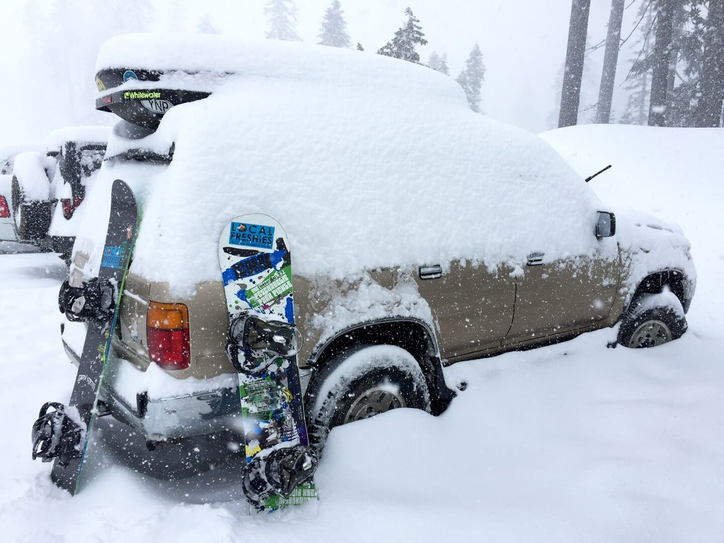 Toyota 4Runner covered in snow at Sierra-at-Tahoe