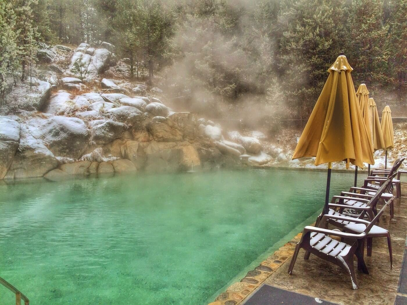 Gold Fork McCall Idaho Hot Springs on a snowy winter day