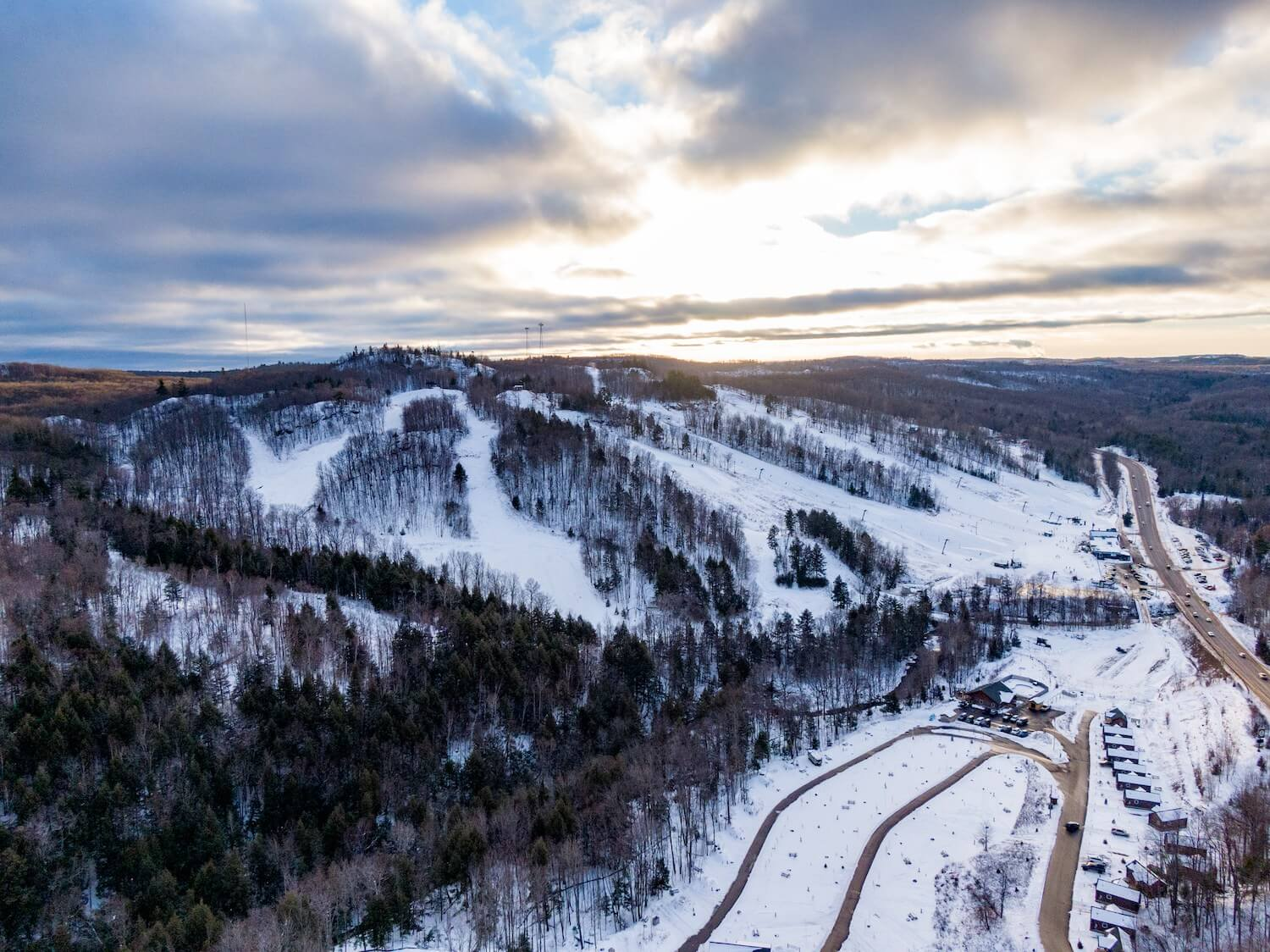 Aerial view of Marquette Mountain in Upper Peninsula Michigan