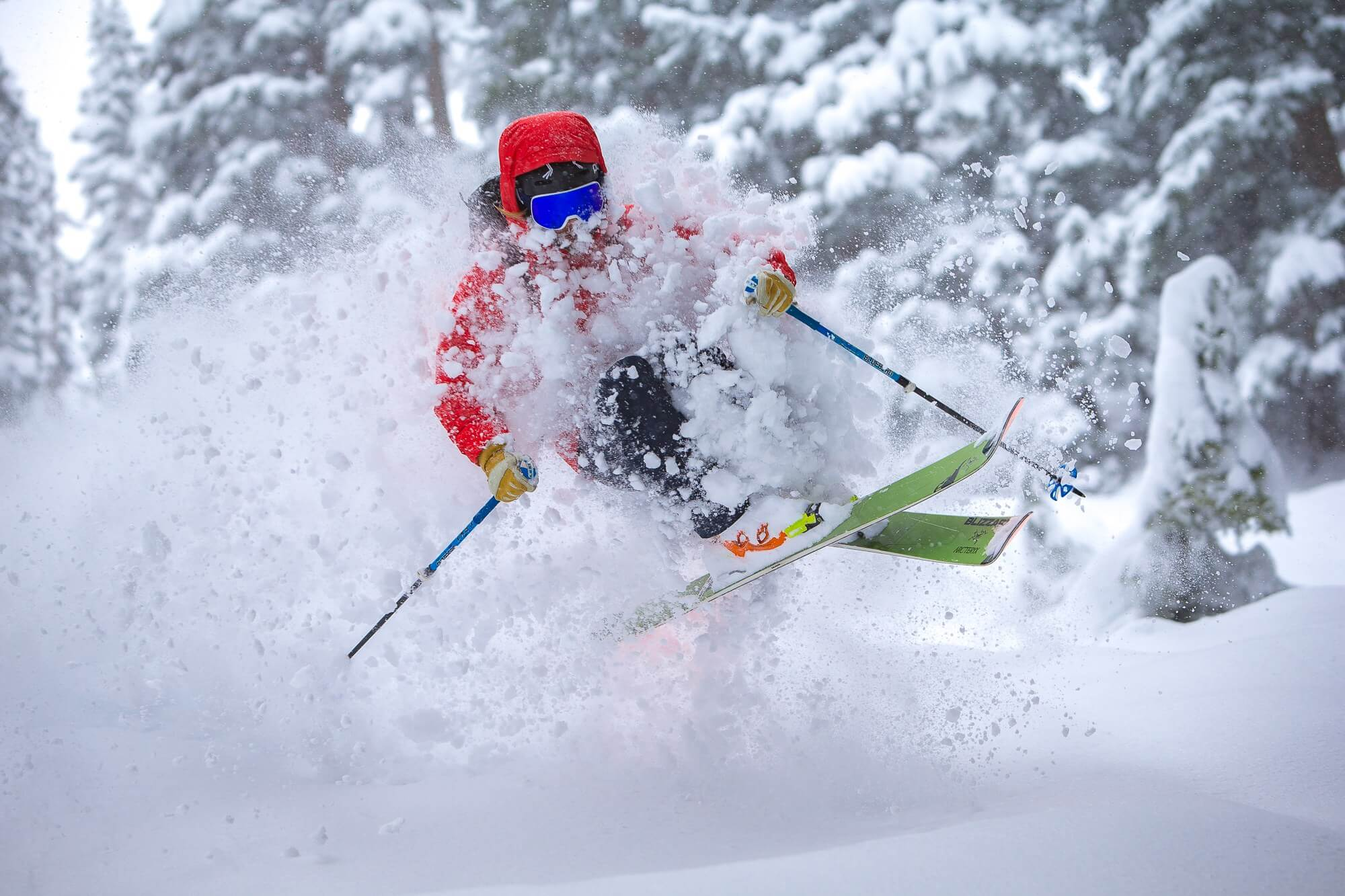 Skier enjoying the soft powder at the great Canadian heli skiing company called Northern Escape