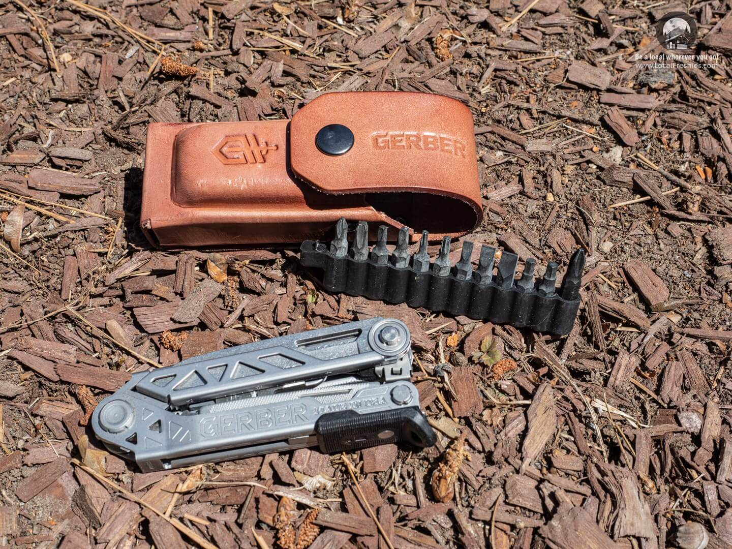 Gerber Center Drive Plus with leather sheath and tool bits
