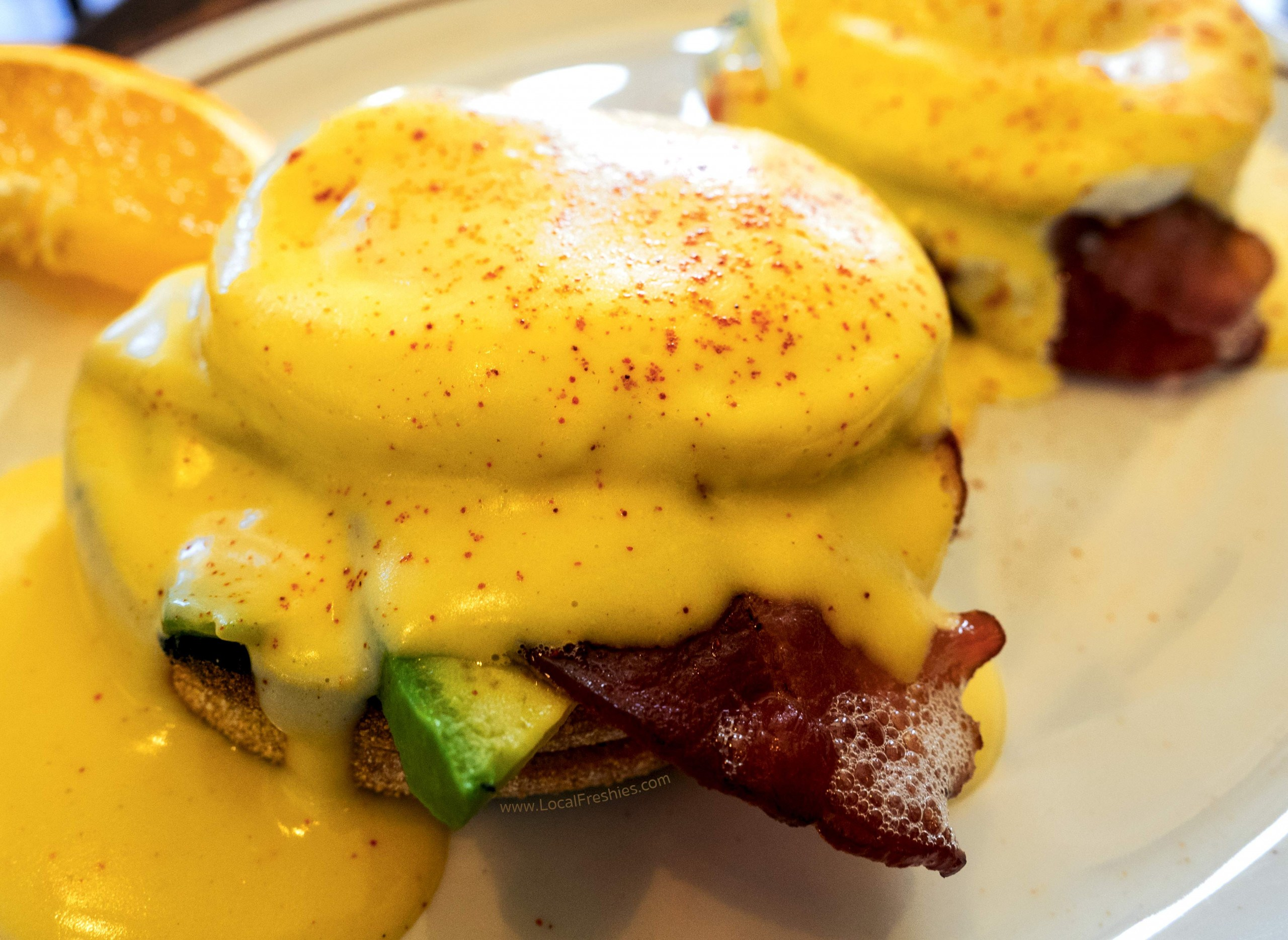 close-up of the eggs benedict at Fogglifter Cafe in McCall Idaho restaurants
