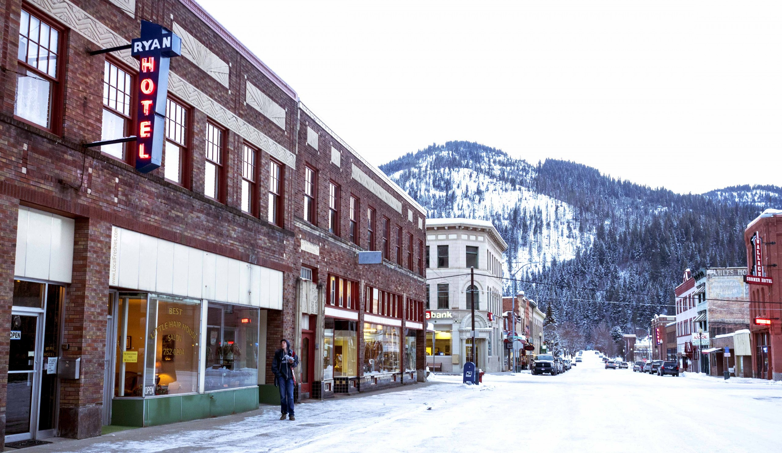 exterior of the Ryan Hotel in winter in Wallace Idaho